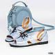 Женские открытые голубые туфли с ремешком натуральная кожа-сатин, фото 3