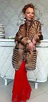 Шуба из натурального Леопарда с чернобуркой. Модель 200201976, фото 1