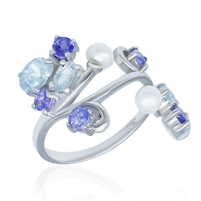 Серебряное кольцо с аквамаринами жемчугом танзанитами 097 размер 17.5