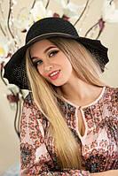 """Летняя женская шляпа """"Гермиона"""",черная"""