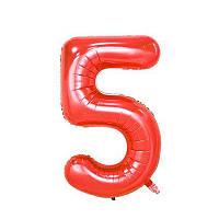 Большой воздушный шар в форме цифры 5 из фольги. 80 см.  Цвет красный