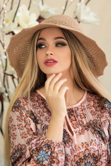"""Летняя женская шляпа """"Гермиона"""",бежевая"""