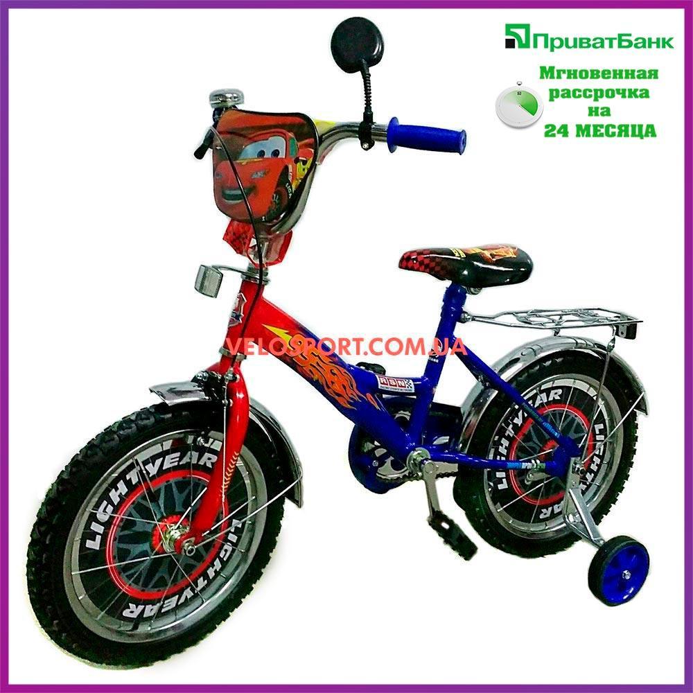 Детский велосипед Mustang Тачки 18 дюймов сине-красный