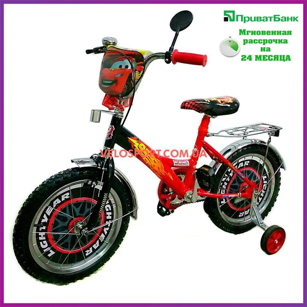 Детский велосипед Mustang Тачки 18 дюймов черно-красный