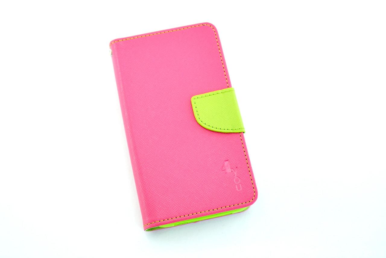 """Чехол-книжка 4you Fancy 4,2""""-4,8"""" SLIDER pink/green универсальная"""