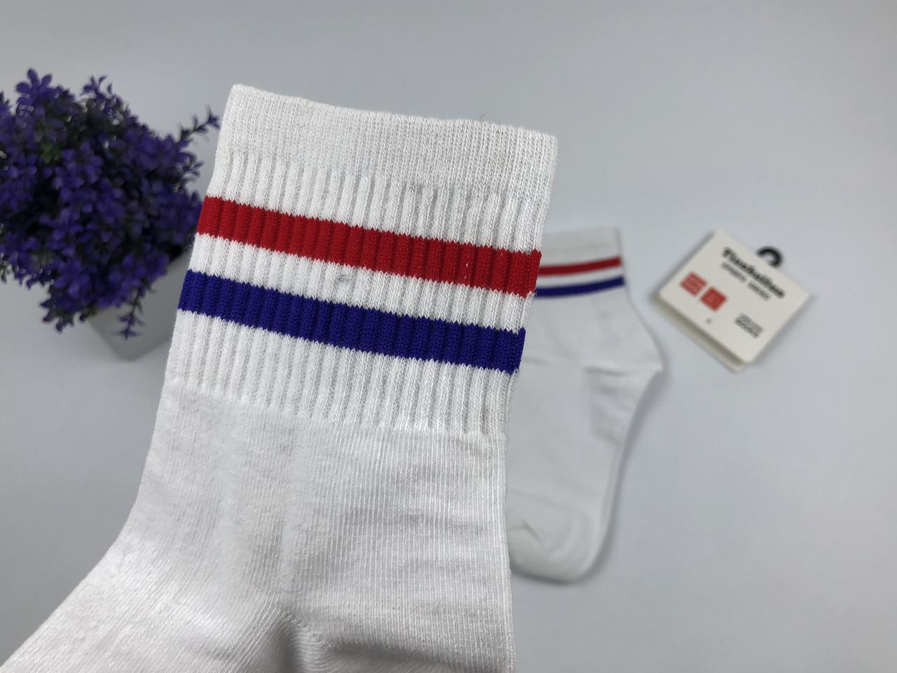 Носки Tianbailum Две Полосы (белые, красная и фиолетовая)