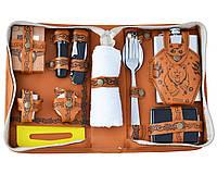 Уникальный подарочный набор - фляга с рюмками в кожаном чехле