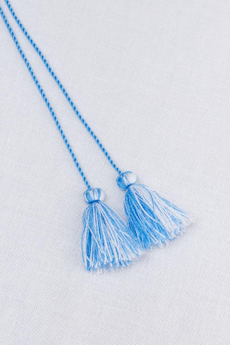 Кисточки двухцветные для вышиванок (бело-голубые)