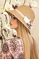 """Летняя женская шляпа """"Тэсса"""",бежевый"""