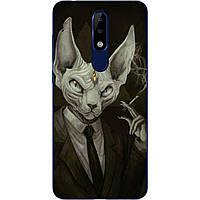 Силиконовый чехол с рисунком для Nokia 5.1 Plus Кот в костюме