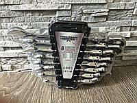 🔶 Набор рожково-накидных ключей с трещеткой на кардане 8 шт Euro craft
