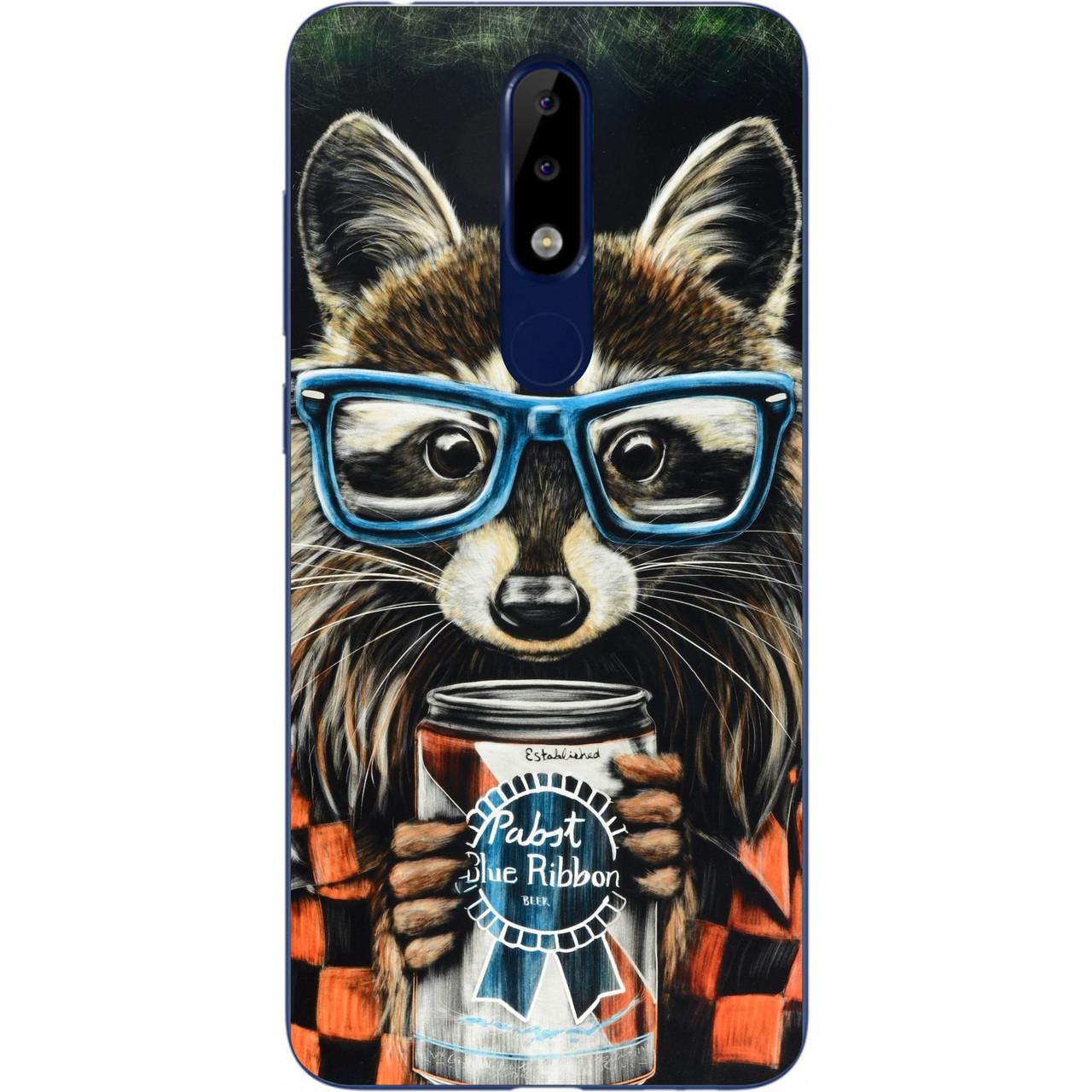 Силиконовый чехол для Nokia 5.1 Plus с картинкой Енот в очках