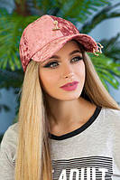Велюровая женская кепка  «Блэз»,розовая, фото 1