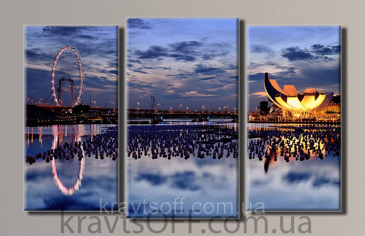 "Модульная картина на холсте из 3-х частей ""Сингапур"" ( 54х86 см )"