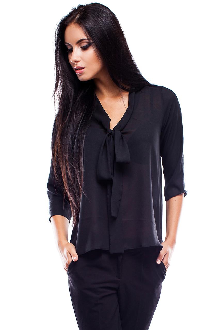 (S, M, L) Витончена жіноча чорна блузка Avrora