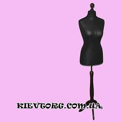 Манекен женский черный портновский пошивочный для ателье, магазина на деревянной подставке (Польша)