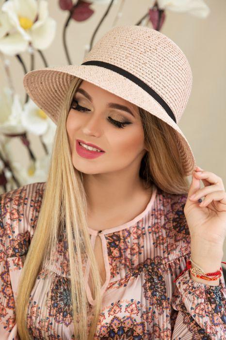"""Летняя женская шляпа """"Джуэл"""",пудра"""
