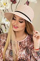 """Летняя женская шляпа """"Джуэл"""",пудра, фото 1"""