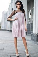 007bc699d14 Розовое платье CATHY из люрекса плиссе с прозрачными шифоновыми рукавами и  кокеткой