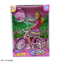 Кукла типа шарнирная,велосипед,шлем, в кор. 19,5*7,4*26,5 см /36-2/(2018)