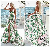 Роскошное цветочное вечернее шелковое платье в пол со шлейфом. Цвета!