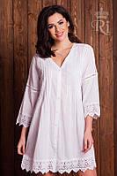 Летняя туника платье из натуральной ткани белого цвета на пуговицах, фото 1