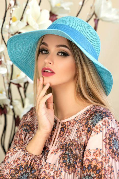 """Летняя женская шляпа """"Кловер""""голубая"""
