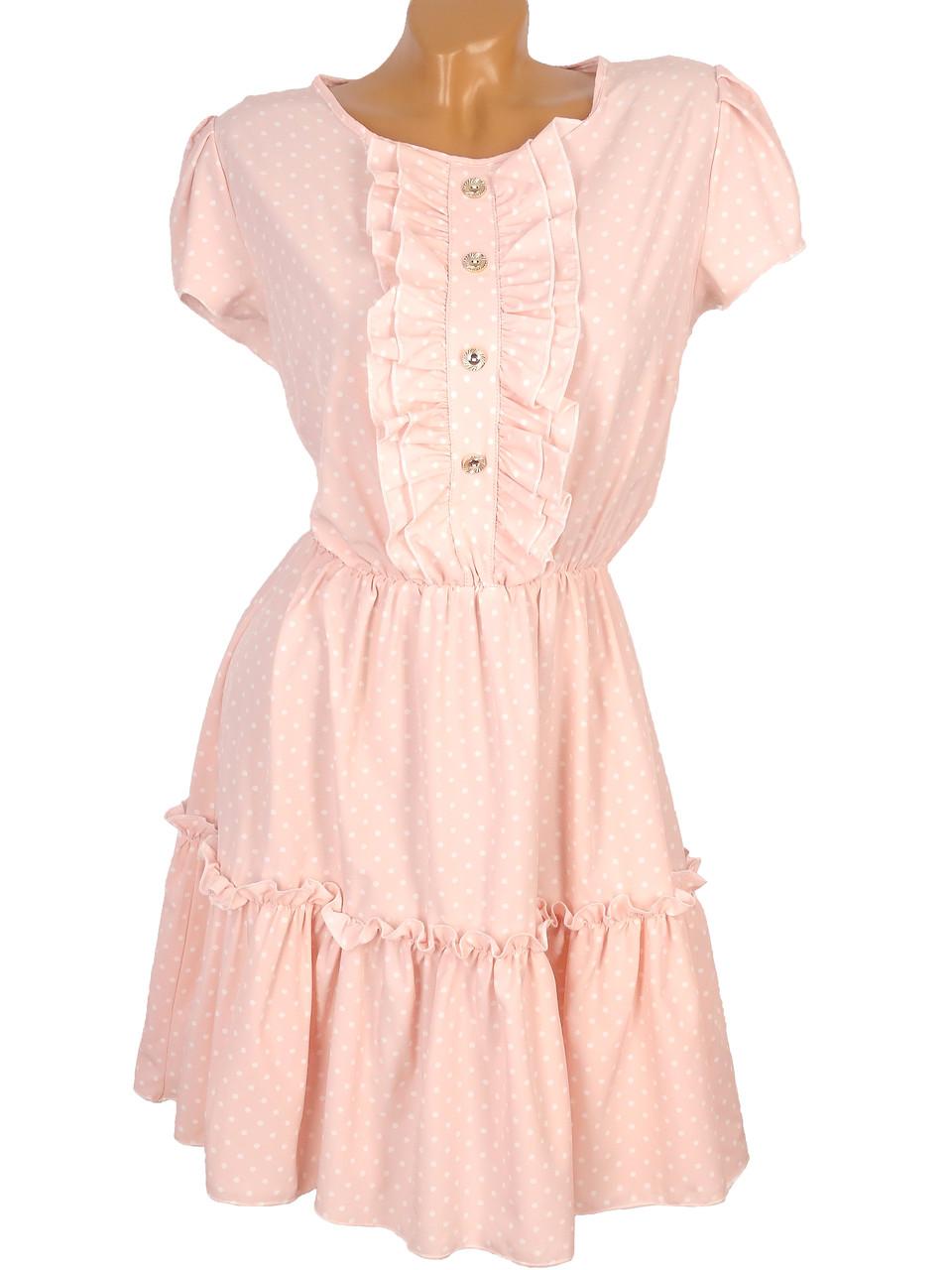 Женственное платье в горошек 42-48