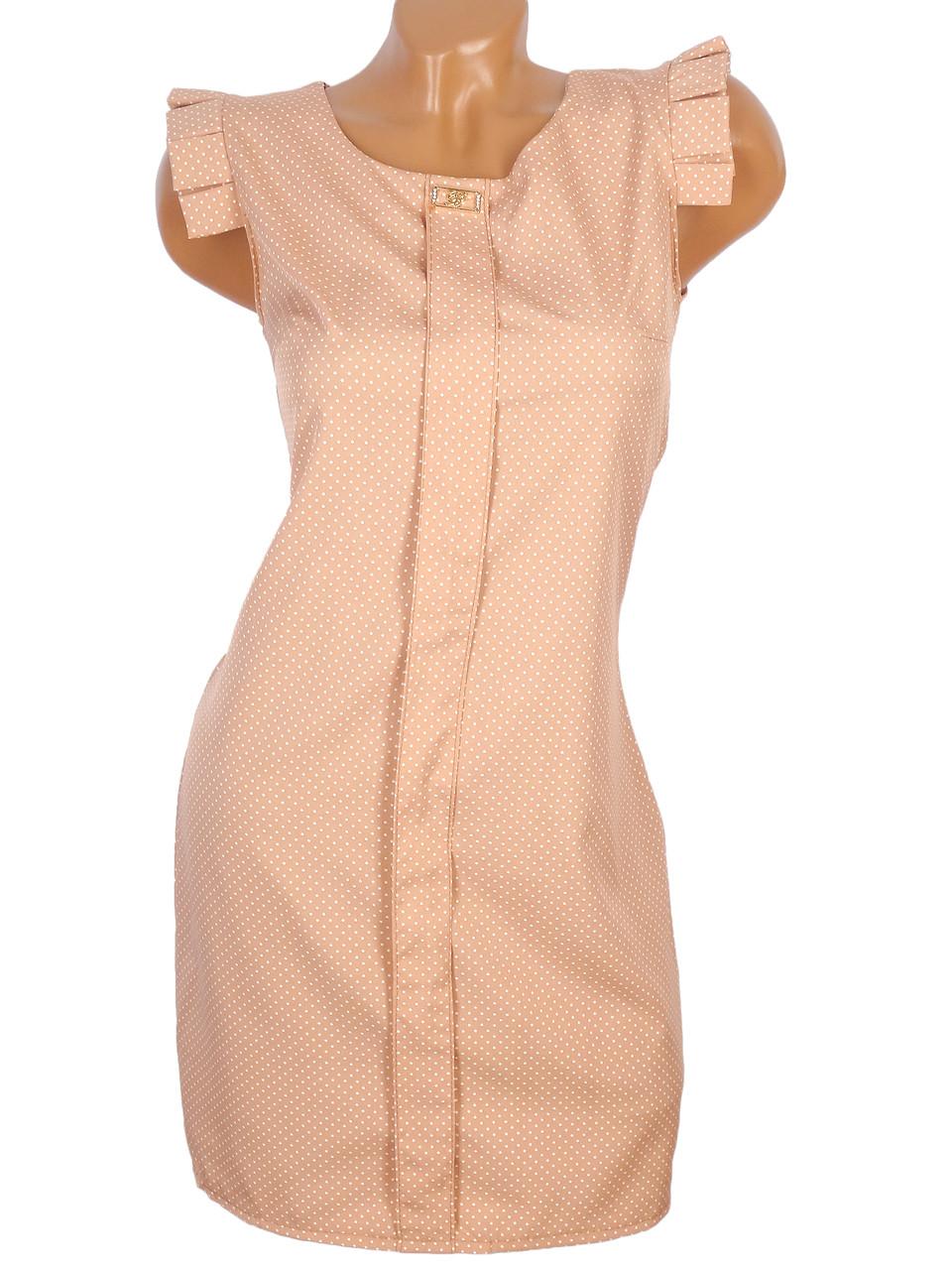 Платье в горошек с рукавами-крылышками 42-48
