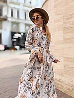 Длинное платье с рукавом цветочный принт