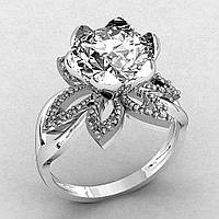 Кольцо  женское серебряное Раскрывшийся Цветок