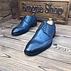 Мужские кожаные туфли броги синие чоло, фото 5