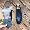 Мужские кожаные туфли броги синие чоло, фото 3