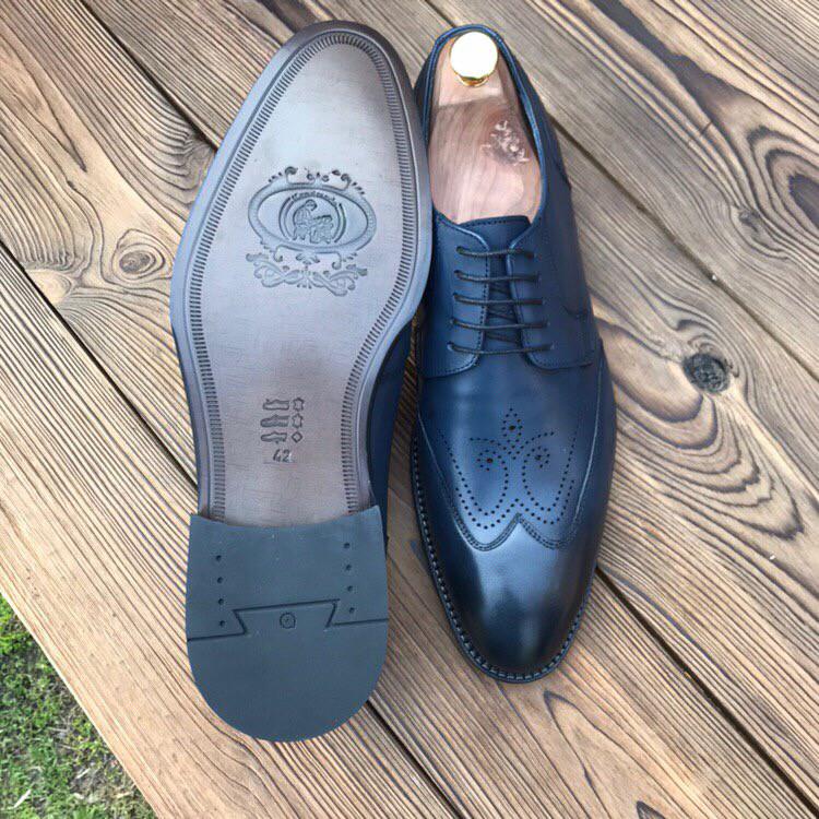 Мужские кожаные туфли броги синие чоло
