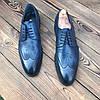 Мужские кожаные туфли броги синие чоло, фото 2