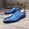Мужские кожаные туфли броги синие чоло, фото 4