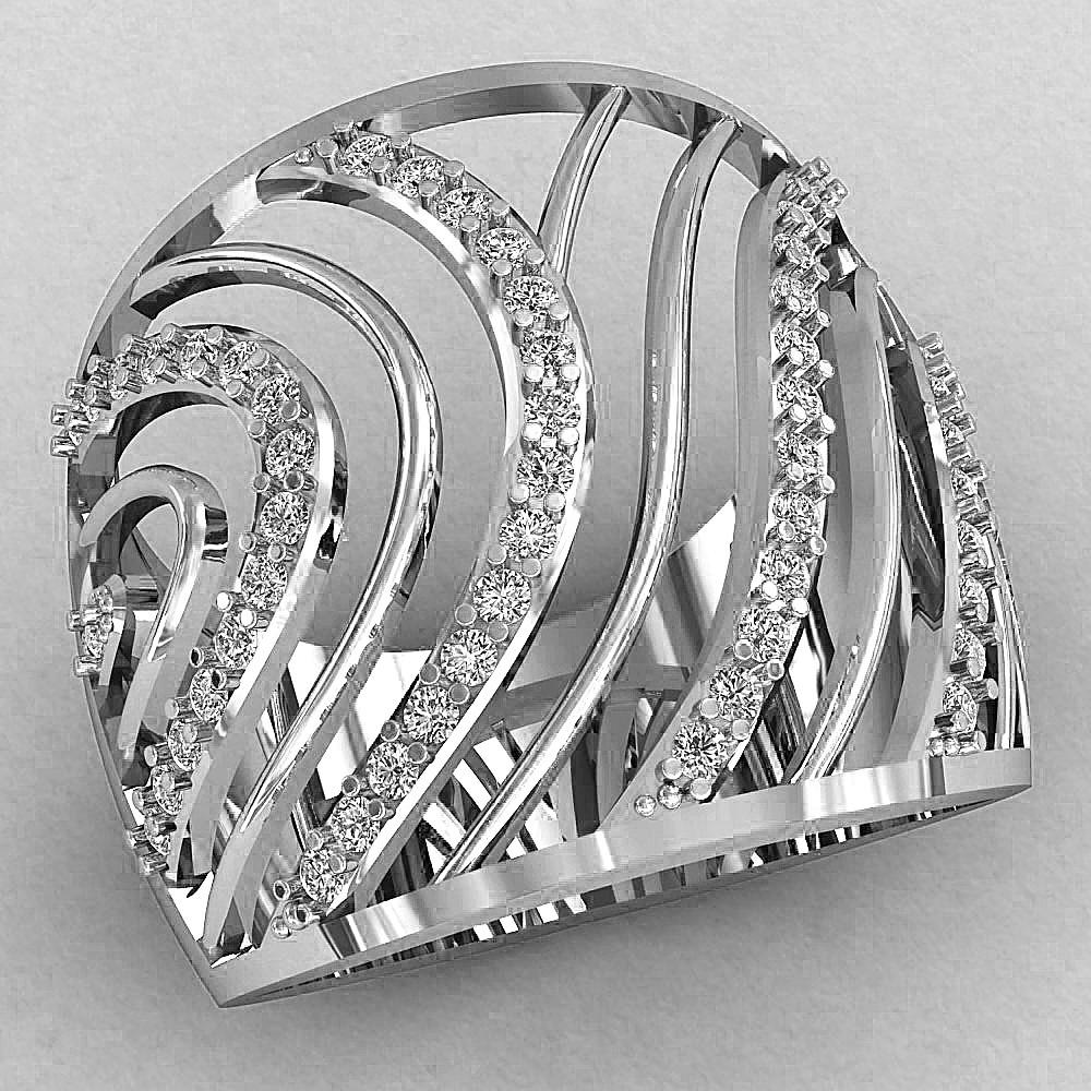 Кольцо  женское серебряное Бриз