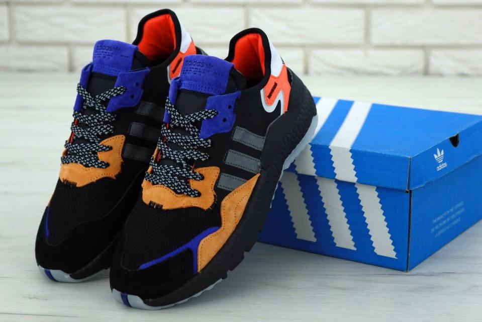 Кроссовки Adidas Nite Jogger (нат. замш, текстиль) реплика ААА+, размер 41-44 черный (живые фото), фото 1