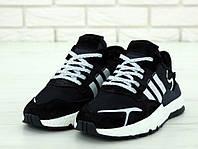 Кроссовки Adidas Nite Jogger (нат. замш, текстиль) реплика ААА+, размер 41-45 черный (живые фото), фото 1