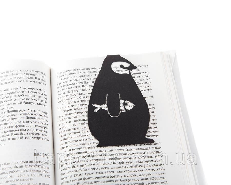 Металева закладка для книг Пінгвін (чорна)