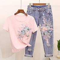 Костюм( джинсы +футболка с аппликацией )