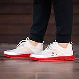 Мужские кроссовки South Sirius WHITE/RED, легкие классические белые кроссовки на лето, фото 6