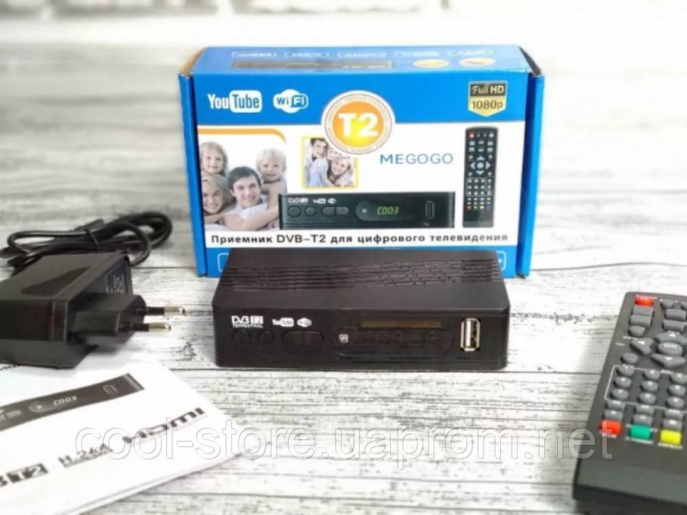 Тюнер T2 приставка с просмотром YouTube IPTV WiFi HDMI USB MEGOGO, фото 1