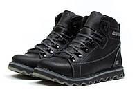Мужские зимние кожаные ботинки CAT Expensive Black Night (реплика)