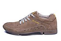 Чоловічі шкіряні літні кросівки перфорація  Columbia Latte
