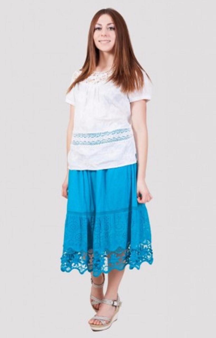 Стильная летняя юбка с красиво вышитым низом производитель Индия