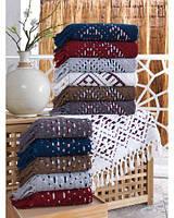 Набор хлопковых полотенец с кисточками сауна Sikel 90х150 Selcuklu