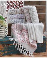 Набор хлопковых полотенец с кисточками сауна Sikel 90х150 sunny
