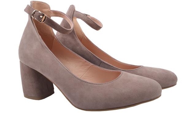 Туфли женские на каблуке из натуральной замши, бежевые Angels
