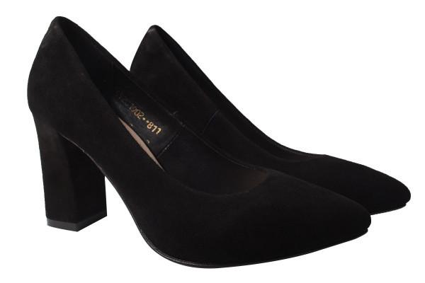 Туфли женские на каблуке из натуральной замши черные Angels